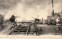 GUERRE 1914- 1918  WW1  Soldats Belges Défendant Une Voie Ferrée  ... - Guerre 1914-18