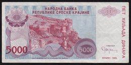 CROATIA OCUPATION 1993. SRPSKA KRAJINA 5.000 Dinara - Croatia