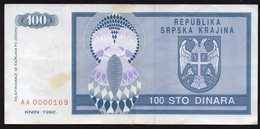 CROATIA OCUPATION 1992. SRPSKA KRAJINA 100 Dinara - Croacia