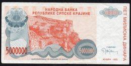 CROATIA OCUPATION 1993. SRPSKA KRAJINA 5.000.000 Dinara - Croatia