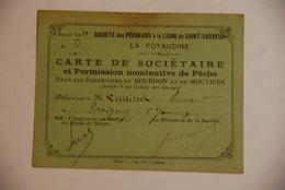 Carte Nominative - Carte De Peche St Sauveur Nievre Bourdon Moutier - Documenti Storici