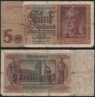 Germany P 186 A - 5 Reichsmark 1.8.1942 - Fine - [ 4] 1933-1945 : Tercer Reich