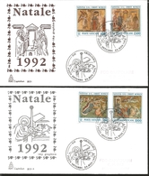 J) 1992 VATICAN CITY, CHRISTMAS, MULTIPLE STAMPS, SET OF 2 FDC - Vatican