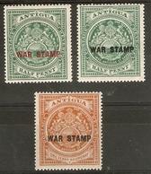 ANTIGUA 1916 - 1918 WAR STAMPS SG 52/54 MOUNTED MINT Cat £8.25 - Antigua & Barbuda (...-1981)