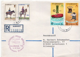 Postal History Cover: Guernsey Registered Letter With 4 Stamps Sent To Germany - Guernsey