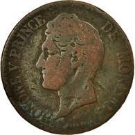 Monnaie, Monaco, Honore V, 5 Centimes, Cinq, 1837, Monaco, B+, Cuivre - Monaco