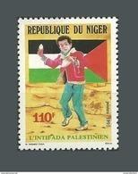 NIGER 1991 YT 807 INTIFADA PALESTINIEN PALESTINE PALESTINIENNE DRAPEAU FLAG PIERRE LANCEUR STRUGGLE STRUGLE LUTTE MNH ** - Niger (1960-...)