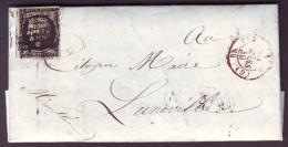 SEINE - LAC- Tàd (1502)  (G) PARIS (G) En ROUGE + Grille Sur N° 3 (20c Noir Cérès) Pour Lunéville (52) - 1849-1876: Classic Period