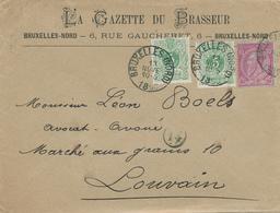 443/27 - BELGIQUE - Lettre TP 45 X 2 Et 46 (Double Port) BRUXELLES 1890 - Belle Entete La Gazette Du Brasseur - Bières