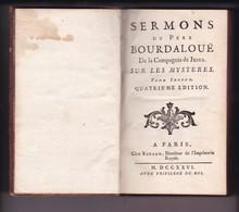 Sermons Du Père Bourdaloue Sur Les Mystères - Tome 2 - Chez Rigaud, Paris 1726 - BE - Collection - RARE - Libros, Revistas, Cómics