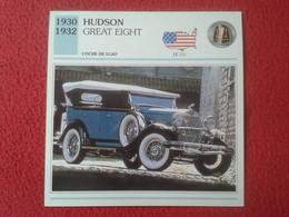 FICHA TÉCNICA DATA TECNICAL SHEET FICHE TECHNIQUE AUTO COCHE CAR VOITURE 1930 1932 HUDSON GREAT EIGHT USA UNITED STATES - Coches