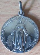 """Médaille Religieuse """"O Marie Conçue Sans Pêché"""" En Argent Signée Pénin Poncet - Religion & Esotérisme"""