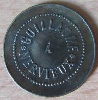 """Jeton """"Guillaume à Nervieux"""" Et Chiffre 5 - Diam. : 27 Mm, Poids : 5 Grammes - Laiton - Monetary / Of Necessity"""