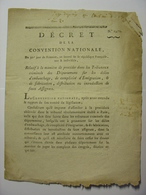 DECRET CONVENTION NATIONALE 20 DECEMBRE 1793 - EMIGRATION CONTREFACON ASSIGNATS - IMPRIMERIE DELCROS CLERMONT FERRAND - Décrets & Lois
