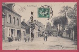 80 - SAINT RIQUIER---Route De Doullens--Café Du Progres---animé - Saint Riquier