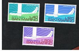 SAN MARINO - UNIF. A151.A153 POSTA AEREA -   1974 50^ ANNIV. VOLO A VELA IN ITALIA (SERIE COMPLETA DI 3)     - MINT** - Posta Aerea