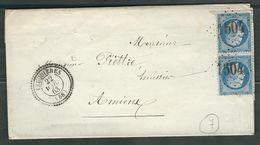 FRANCE 1863 N° 22 Paire  S/Lettre Obl. GC 1504 Feuquiéres (indice 7) - 1862 Napoleon III