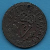 ESPANA VALENCIA 1 Seiseno 1711 KM# 248 PHILIPPUS V DEI GRAT - Provincial Currencies