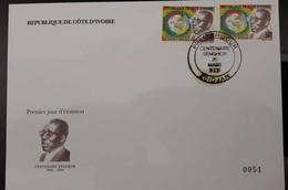 IVORY COAST COTE D'IVOIRE - FDC ENVELOPPE -  MICHEL 1481/2 LEOPOLD SENGHOR CORNER FULL SET - 2006 - RARE -PERFECT - Côte D'Ivoire (1960-...)