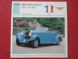 FICHA TÉCNICA DATA TECNICAL SHEET FICHE TECHNIQUE AUTO COCHE CAR VOITURE 1934 HISPANO-SUIZA TIPO 68 BIS FRANCIA FRANCE - Coches