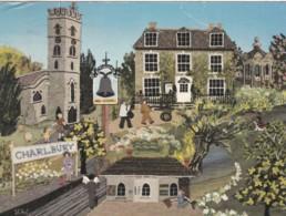 CHARLBURY - FABRIC MONTAGE POSTCARD - England