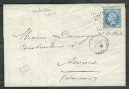 FRANCE 1866 N° 22  S/Lettre Obl. GC 2428 Montataire - 1862 Napoleon III