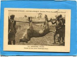 OUBANGUI CHARI-CENTRAFRIQUE-- Chasse Au Lion- Porteurs Avec Beau Trophée -gros Plan-expédition Citroën-années 20-30 - Centrafricaine (République)