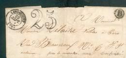 FRANCE LETTRE SANS TIMBRE TAXE DOUBLE TRAIT 25C + D LAVONCOURT 25 SEPT 1851 POUR PARIS TB - France