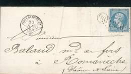 FRANCE LETTRE NAPOLEON III 20C + OR DOULAINCOURT 23 JUIN 1863 POUR ROMANECHE TB - 1862 Napoleon III
