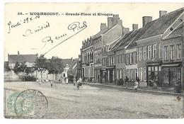 59 WORMHOUDT GRANDE PLACE ET KIOSQUE 1904 CPA 2 SCANS - Wormhout