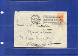 """##(DAN1810)- 28-7-1927 - Livorno-Busta Nitido Annullo Targhetta """"Livorno 7-14.15 Agosto Manifestazioni Motoristiche"""" - 1900-44 Vittorio Emanuele III"""