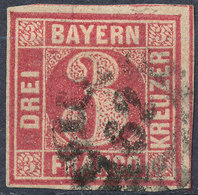 Stamp Bavaria 1862 3kr Used Lot26 - Bavaria