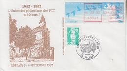 Enveloppe  FDC  Vignette  LISA   40  Ans  De  L' Union  Des  Philatélistes  Des  PTT   ORLEANS    1992 - 1990 «Oiseaux De Jubert»