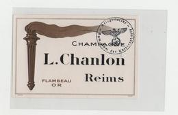 PARACHUTISTE - Etiquette CHAMPAGNE CHANLON - REIMS - Flambeau Rouge Frattée Du Tampon Jallschirm-jager - Militaria