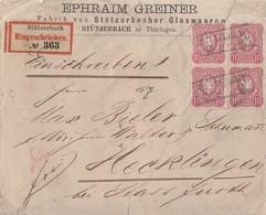 DR R-Brief Mef Minr.4x 41 4er Block R2 Stützerbach - Deutschland