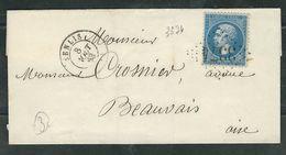 FRANCE 1863 N° 22 S/Lettre Obl. GC 3374 Senlis - 1862 Napoleon III