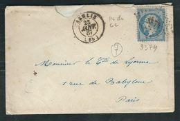 FRANCE 1867 N° 22 S/Lettre Obl. PC Du GC 3374 Senlis - 1862 Napoleon III