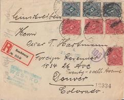DR R-Brief Mif Minr.4x 206,3x 209 Rendsburg 24.1.23 Gel. In USA Zensur Geprüft - Deutschland