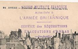 ARRAS Pas De Calais, MISSION MILITAIRE FRANCAISE ARMEE BRITANNIQUE SERVICE DES REQUISITIONS Et EVACUATIONS - Marcofilia (sobres)