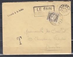 Brief Van Liege Naar Bruxelles Met Taksstempel Trouve A La Boite Le Pain Nourrit Et Fortifie - Portomarken