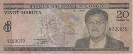 BILLETE DE EL CONGO DE 20 MAKUTA DEL AÑO 1970 (BANKNOTE) - República Democrática Del Congo & Zaire