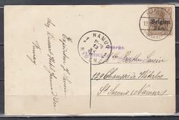 Postkaart Bz 11 Van Fumay (Frankreich) Franse Afstempeling Naar Namen Met Censuur - Occupation 1914-18