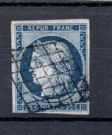 France 1849 Ceres 25 Cents Deep Blue Fine Used - 1849-1850 Cérès