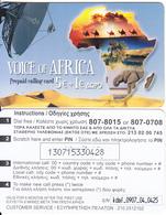 GREECE - Elephant, Voice Of Africa Prepaid Card 5+1 Euro(807 8015-807 0708, Thin Plastic), Used - Télécartes