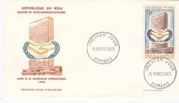 Enveloppe Premier Jour  Année De La Coopération Internationale  15  Mars 1965  BAMAKO- République Du  Sénégal - Organizations