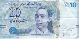 BILLETE DE TUNEZ DE 10 DINARS DEL AÑO 2013 (BANK NOTE) - Tunisia