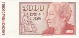 BILLETE DE CHILE DE 5000 PESOS DEL AÑO 1990 EN CALIDAD EBC (XF) (BANKNOTE) - Chile