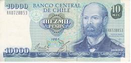 BILLETE DE CHILE DE 10000 PESOS DEL AÑO 1989 EN CALIDAD EBC (XF) (BANKNOTE) - Chile