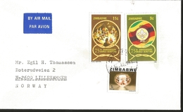 J) 1982 ZIMBABWE, 75TH ANNIVERSARY WORLD SCOUTING, EMBLEM, MAP, DIAMOND, MORGANITE, MULTIPLE STAMPS, AIRMAIL, CIRCULATED - Zimbabwe (1980-...)