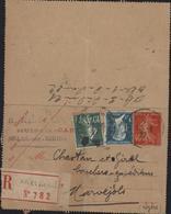 Entier Carte Lettre 40ct Semeuse Camée Vermillon YT 159 + 179 Pasteur CAD Arles S Rhône 20 6 27 Recommandé - Entiers Postaux